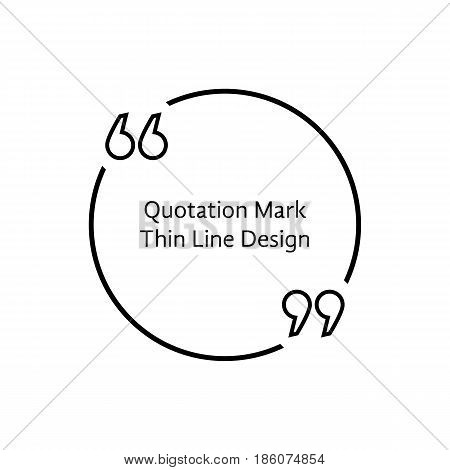thin line quotation mark. concept of citation, info, testimonials, notice, textbox, mention, memo, info, citing. isolated on white background. flat style trend modern logo design vector illustration