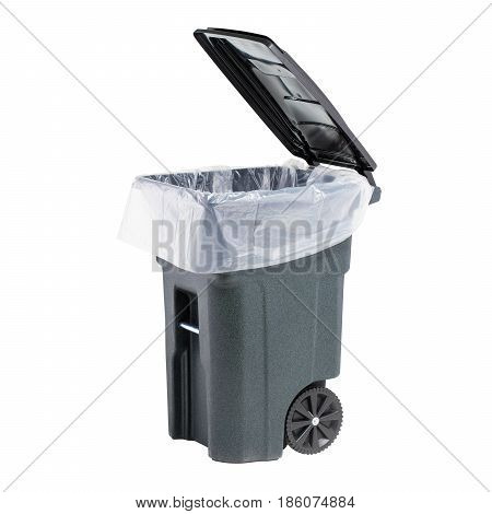 Recycle Bin Isolated On White Background. Plastic Waste Disposal Bin. Trash Can