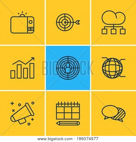 Vector Illustration Of 9 Social Icons. Editable Pack Of Aiming, Announcement, Network And Other Elements.