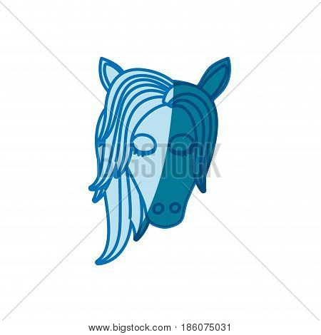 blue silhouette of front face of female horse with closed eyes and mane vector illustration