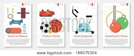 Vector four vertical banners for fitness. Health and beauty. Exercise bike and balls and other equipment and supplies in flat style with name and text on white background