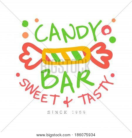 Candy bar sweet and tasty logo. Colorful hand drawn label for confectionery, bakery, candy bar, sweet store