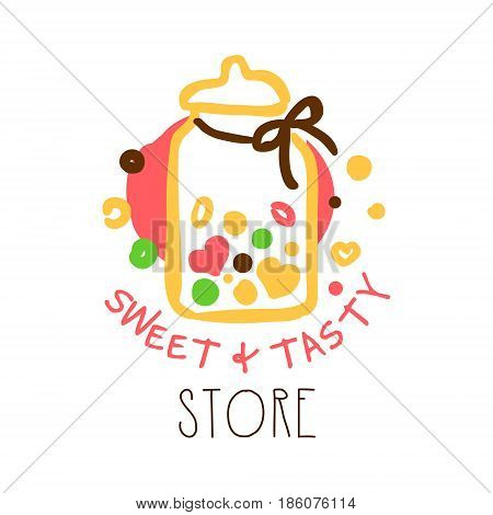 Sweet and tasty store logo. Colorful hand drawn label for confectionery, bakery, candy bar