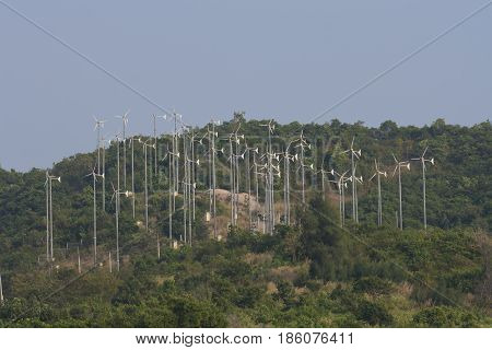 Farm of small wind turbines in Thailand