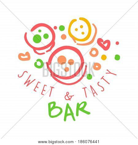 Sweet and tasty bar logo. Colorful hand drawn label for confectionery, bakery, candy bar, sweet store