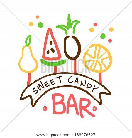 Sweet candy bar logo. Colorful hand drawn label for confectionery, bakery, sweet store