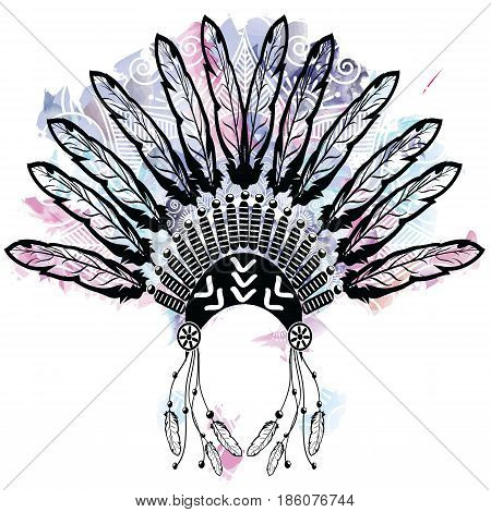 Aztec style headdress made out of feathers symbolizing native American culture on colorful watercolors background with mandala lace tattoo style decorated with   tribal ornaments
