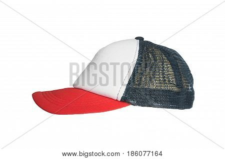 White Red Cap With A Grid On A White Background, Isolated