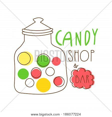 Candy shop logo. Colorful hand drawn label for confectionery, bakery, candy bar, sweet store