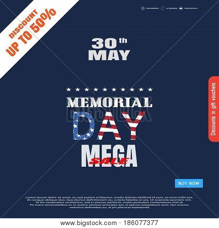Memorial Day Sale vector poster with color text blue buy button and terms on the dark blue background with white stripe.