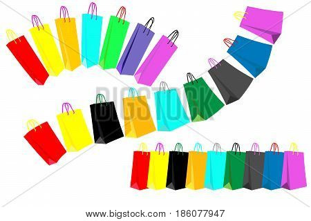 different sets of colored shopping bags in lines