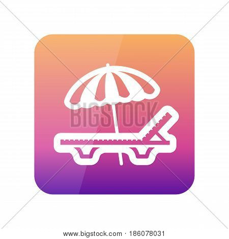 Beach chaise lounge with umbrella outline vector icon. Summer. Summertime. Holiday. Vacation eps 10