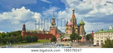 Panoramic view on Moscow Red Square, Kremlin towers, stars and Clock Kuranti, Saint Basil's Cathedral church. Panorama from hotel Russia. Moscow holidays vacation tours famous sightseeing points