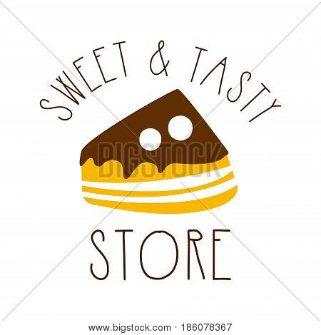 Sweet and tasty store. Colorful hand drawn label for confectionery, candy bar