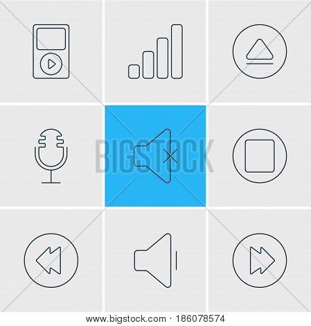 Vector Illustration Of 9 Music Icons. Editable Pack Of Mp3, Reversing, Acoustic And Other Elements.