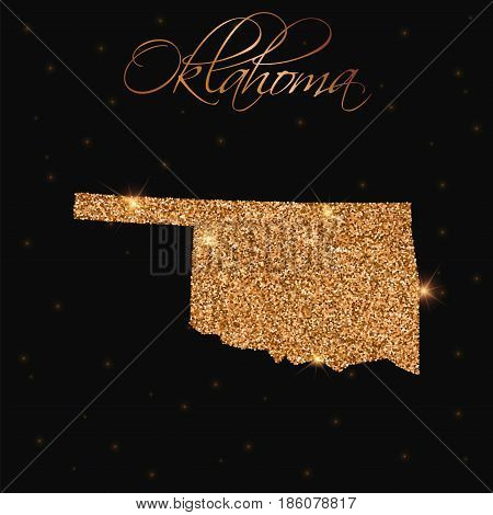 Oklahoma State Map Filled With Golden Glitter. Luxurious Design Element, Vector Illustration.