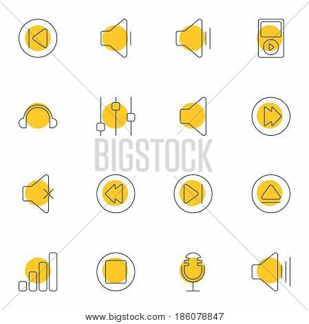 Vector Illustration Of 16 Melody Icons. Editable Pack Of Reversing, Soundless, Subsequent And Other Elements.