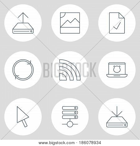 Vector Illustration Of 9 Network Icons. Editable Pack Of Refresh, Hdd Sync, Photo And Other Elements.