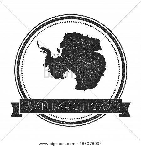 Retro Distressed Antarctica Badge With Map. Hipster Round Rubber Stamp With Country Name Banner, Vec