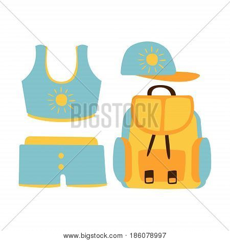 Shorts, top, cap, backpack, women beach accessories in light blue colors. Beach vacation. Colorful cartoon Illustration isolated on a white background