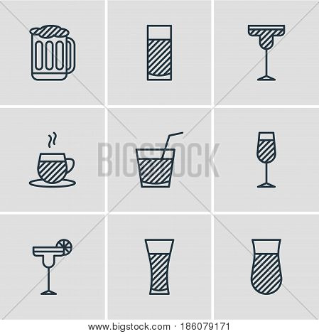 Vector Illustration Of 9 Drinks Icons. Editable Pack Of Goblet, Cocktail, Drink And Other Elements.