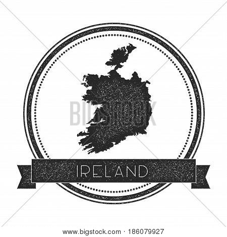 Retro Distressed Ireland Badge With Map. Hipster Round Rubber Stamp With Country Name Banner, Vector