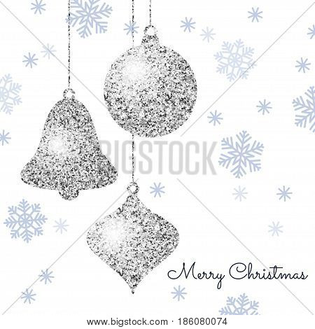 Merry Christmas background with silver hanging baubles and blue snowflakes. Shining glitter textured ball bell and pine cone on a white background. Vector template for greeting card.