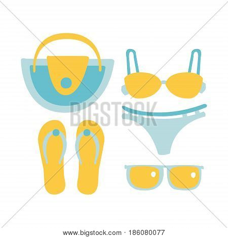Swimsuit, glasses, bag, sandal, women beach accessories in light blue colors. Beach vacation. Colorful cartoon Illustration isolated on a white background