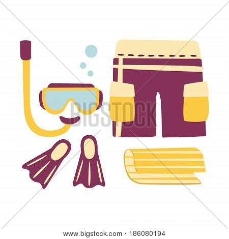 Shorts, fins, snorkel and mask for diving. Colorful cartoon Illustration isolated on a white background