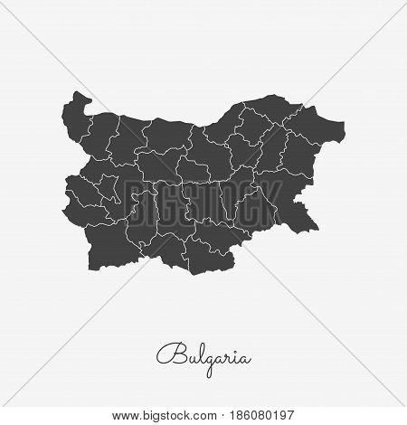 Bulgaria Region Map: Grey Outline On White Background. Detailed Map Of Bulgaria Regions. Vector Illu