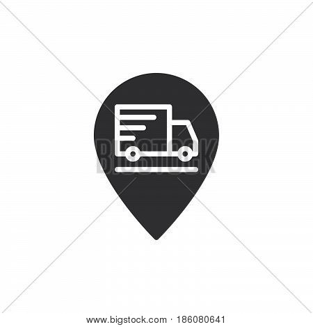 Shipping truck on map pointer icon vector filled flat sign solid pictogram isolated on white. Order on the way symbol logo illustration. Pixel perfect