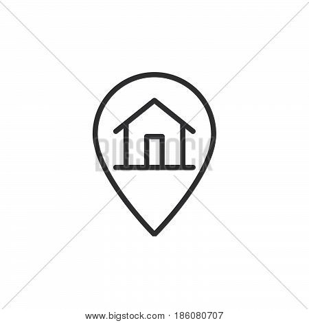 House on map pointer line icon outline vector sign linear style pictogram isolated on white. Order delivered symbol logo illustration. Editable stroke. Pixel perfect