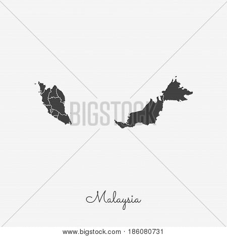 Malaysia Region Map: Grey Outline On White Background. Detailed Map Of Malaysia Regions. Vector Illu