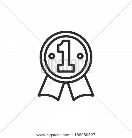 First place medal line icon outline vector sign linear style pictogram isolated on white. Best seller symbol logo illustration. Editable stroke. Pixel perfect