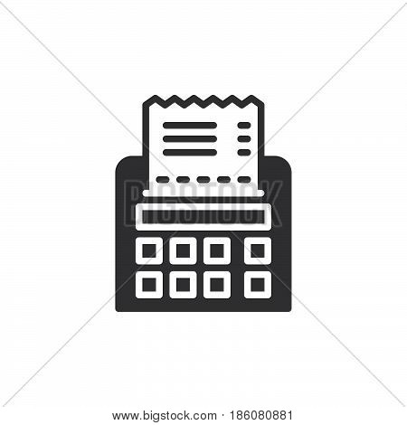 Receipt icon vector filled flat sign solid pictogram isolated on white. Symbol logo illustration. Pixel perfect