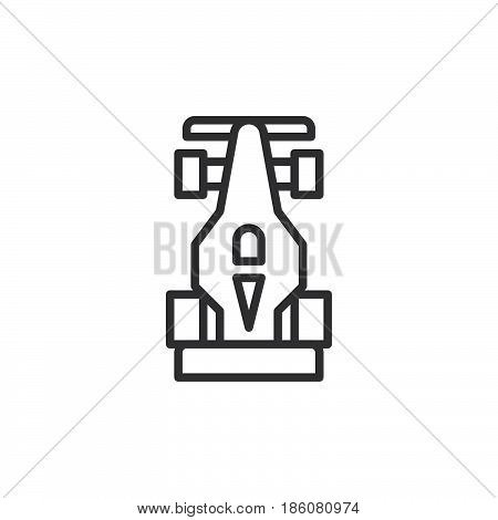 Open wheel racing car line icon outline vector sign linear style pictogram isolated on white. Motorsport symbol logo illustration. Editable stroke. Pixel perfect