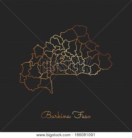 Burkina Faso Region Map: Golden Gradient Outline On Dark Background. Detailed Map Of Burkina Faso Re