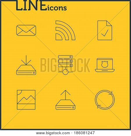 Vector Illustration Of 9 Network Icons. Editable Pack Of Hdd Sync, Letter, Secure Laptop And Other Elements.