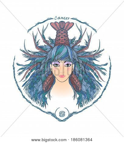Zodiac sign. Hand drawn portrait of a beautiful woman. Vector illustration of Cancer zodiac sign.