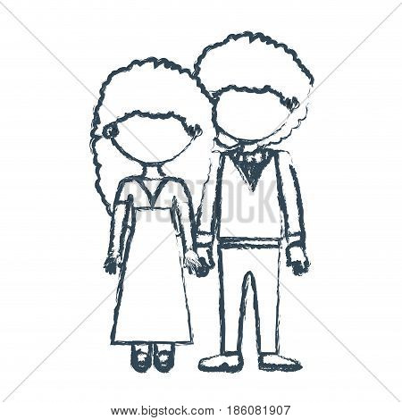 blurred blue contour faceless curly couple woman with long hair in dress and man with bowtie and taken hands