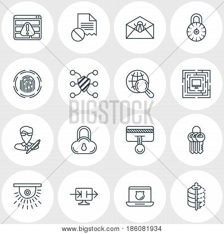Vector Illustration Of 16 Privacy Icons. Editable Pack Of Safe Storage, Finger Identifier, Copyright And Other Elements.