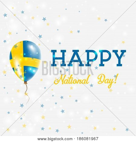 Sweden National Day Patriotic Poster. Flying Rubber Balloon In Colors Of The Swedish Flag. Sweden Na