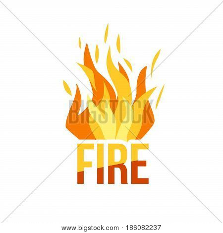 Red Fire icon isolated on background. Modern simple, flat blazing flame sign.