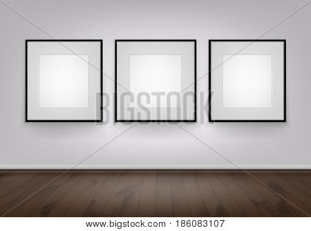 Three Vector Empty Blank White Mock Up Posters Pictures Black Frames on Wall with Brown Wooden Floor Front View
