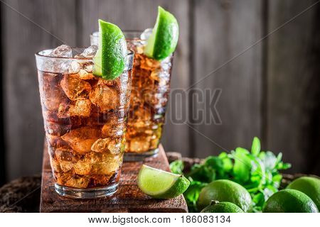 Tasty Iced Tea With Citrus Fruits And Mint