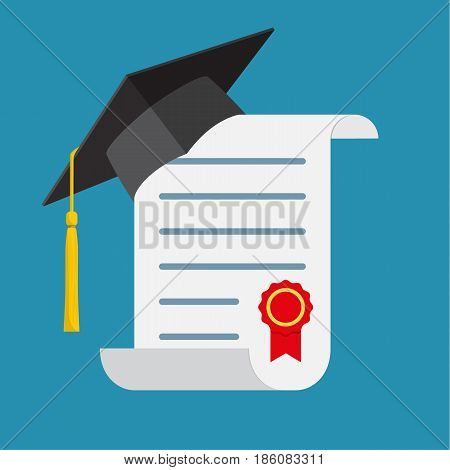 Graduation cap and diploma. Icon in a flat design. Vector illustration