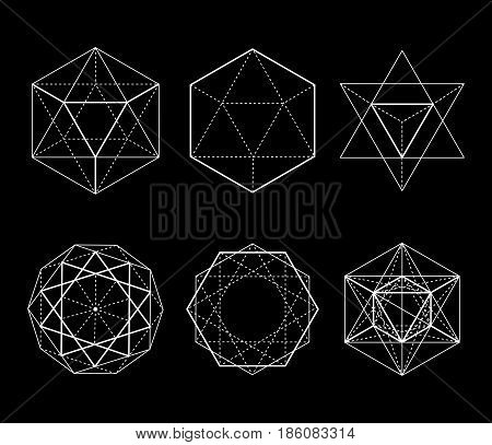 Hexagonal shapes set. Crystal forms. Winter design elements. Hexagons vector illustration