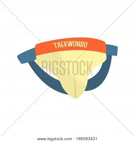 Groin guard protector, bandage, martial arts gear. Taekwondo sport equipment. Colorful cartoon vector Illustration isolated on a white background