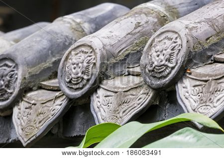 Architectural details of the People's Park in Chengdu sichuan province China