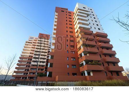 MILAN ITALY - FEBRUARY 15 2017: Milan (Lombardy Italy): modern residential buildings near via Principe Eugenio